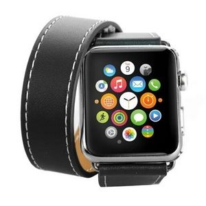 Leather Double Tour Black Watchband for Apple